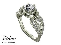 Flower Engagement Ring,Unique Engagement Ring,White Gold Leaves Ring By Vidar Botique,Diamond Engagement Ring,Vintage Ring,Unique Ring