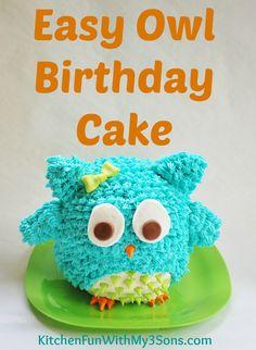 Easy Owl Birthday Cake Pinned by www.myowlbarn.com