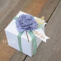 Stampin Up Thoughtful Branches hydrangea blossom box. Available August 2016 Handmade Greetings, Greeting Cards Handmade, 3d Paper Art, Paper Crafts, Stampin Up Catalog, Beautiful Handmade Cards, Pretty Box, Flower Cards, Paper Flowers