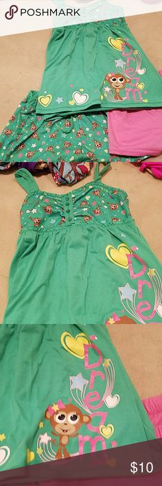 3 piece pj set Adorable monkey 3 piece short set. 2 shorts and 1 top Justice Pajamas Pajama Sets
