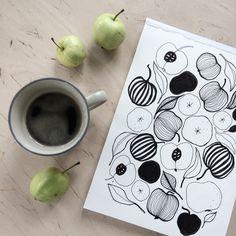 Coffeemoment. Coffee. Coffee and seasons. Coffee styling. Drawing. Illustration. By Johanna Sandberg.