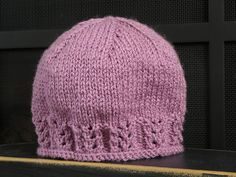 Ravelry: Lacie Gracie - Lace Ribbed Hat pattern by Claudia Szitar Worsted yarn Beanie Knitting Patterns Free, Baby Hats Knitting, Knitting Kits, Knitting For Kids, Crochet For Kids, Knitting Stitches, Knit Patterns, Free Knitting, Knitting Projects