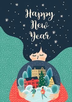 Christmas and Happy New Year illustration with cute woman. Christmas Art, Christmas Greetings, Christmas And New Year, Holiday Cards, Christmas Decorations, Hygge Christmas, Vector Christmas, Xmas, Art And Illustration