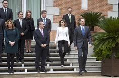 King Felipe VI of Spain (R) and Queen Letizia of Spain (2R) attend a meeting for Miguel de Cervantes IV Centenary at Zarzuela Palace on April 14, 2016 in Madrid, Spain.