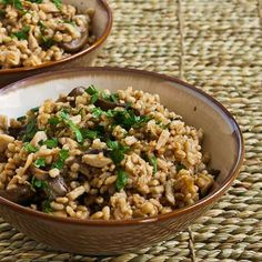 Recipe for Barley Pilaf with Dried and Fresh Mushrooms; if you're a big fan of barley like I am, you'll love this barley side dish!   [from Kalyn's Kitchen] #MeatlessMonday  #LowGlycemicRecipe