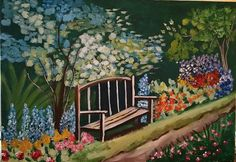 Giovanna Scotti Painted this lovely garden with a wonderful bench.  Awesome.