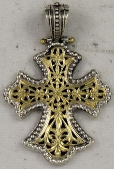 Genuine Konstantino Cross 18K Gold Sterling Silver Pendant