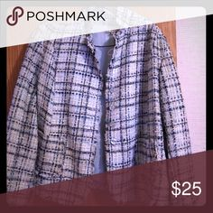 Blue plaid tweed jacket Waist length blue plaid tweed jacket made by lavender and star... Very cute to dress up or wear with a crisp white tee and jeans... Only wore once... Will dry clean before shipping... Says XL but fits like a medium Jackets & Coats Blazers