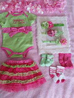 3 Mo Cute Pink n Green OUtfit with matching Headband of your choice.  The doll that this outfit is on is 21in.  Headbands are 14in.  IF YOU WOULD LIKE TO BUY THE SOCKS WITH IT PLEASE SEND ME A NOTE ON WHICH ONE YOU WOULD LIKE.