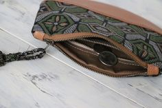 """This Kimono Wallet is made of Vintage Kimono ( 100 % silk ) named """" Kasuri """". Beautiful Green ,Dark Yellow and white pattern Floral pattern with High Quality Pebbled Italian Camel Leather."""