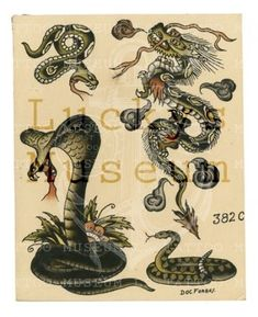 Doc Forbes - Doc Forbes - 382C Traditional Flash, Traditional Tattoo Flash, American Traditional, Old Tattoos, Body Art Tattoos, Vintage Tattoos, Anubis Tattoo, Medusa Tattoo, Antique Tattoo