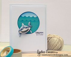 Shark Week | Happy Birthday Shark Card by Lydia Evans | Shark Bites Stamp set by Newton's Nook Designs