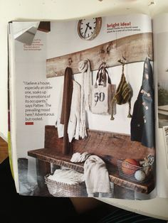 Country living feb 2012 page 82 - reclaimed wood entry bench and shelves