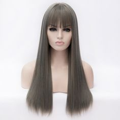 716456b414f6 Stylish Full Bang Silky Straight Long Smoky Gray Heat Resistant Fiber  Capless Daily Wig For Women