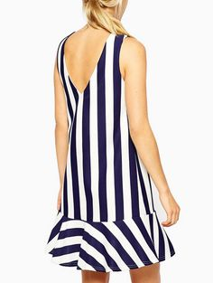 Wholesale Back V neck sexy striped sleeveless A-line dress HY-142514303 - Lovely Fashion