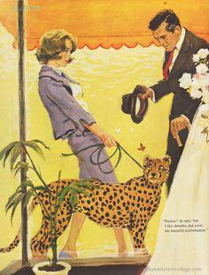 "Yes I'm walking my cheetah - what of it?  ""The Lady with the Cheetah""  Saturday Evening Post 1960 Illustrator: Lynn Buckham"