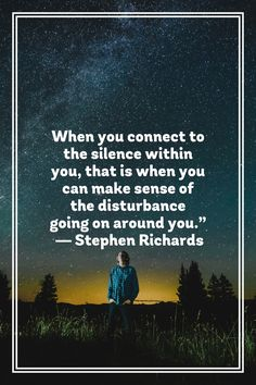 "When you connect to the silence within you, that is when you can make sense of the disturbance going on around you."" ― Stephen Richards"