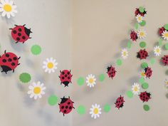 Lady Bug Garland / Daisy and Ladybug Birthday Decor / Birthday Banner / . Lady Bug Garland / Daisy and Ladybug Birthday Decor / Birthday Banner / Little Lady Baby Shower Decorations 1st Birthday Banners, Birthday Decorations, Baby Shower Decorations, Birthday Garland, Hanging Decorations, Birthday Ideas, Birthday Parties, Balloon Birthday, Farm Birthday