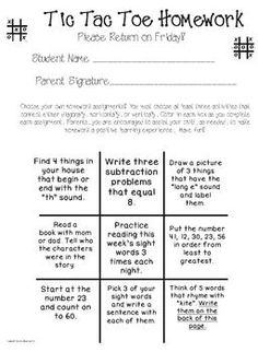 3rd grade writing assignments homework for Tic tac toe menu template