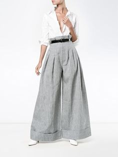 Jacquemus Pinstripe Wide Leg Trousers with High Waist