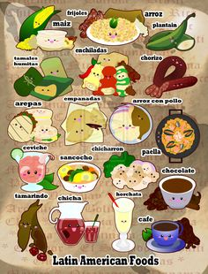 Foodies - Latin American I by ~panda-penguin on deviantART La comida… Spanish Basics, Spanish 1, How To Speak Spanish, Spanish Food, Learn Spanish, Spanish Vocabulary, Spanish Language Learning, Teaching Spanish, Vocabulary Ideas