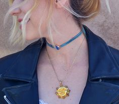 Vintage Sun Necklace paired with handmade self tie Teal druzy choker  Thin chain with statement sun face. Lobster clasp closure.  Looks great together or as separates! Easily paired with other jewelry.