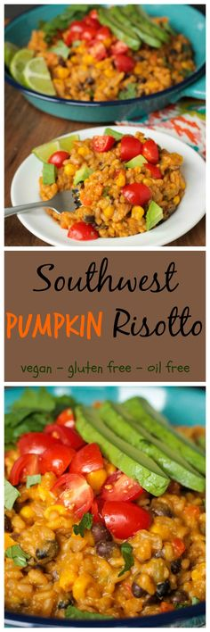 Southwest Pumpkin Risotto - super creamy and delicious with a southwest kick and gentle nod to autumn. My kids devoured this dish in record time! #risotto #pumpkin #mexican #meatlessmonday #kidfriendly, #vegan #dairyfree #oilfree #glutenfree