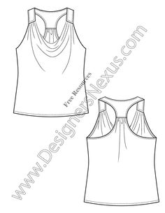 V9 Knit Tank Top Free Illustrator Fashion Flat Sketch Templates - free download of this Adobe Illustrator fashion flat sketch template + More fashion technical drawing templates at www.designersnexus.com! #flatsketches #fashiondesign #fashiontemplates #vector #fashionsketch
