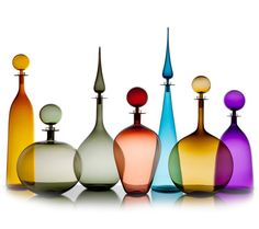 Joe Cariati Glass Collection, Glassblower in Los Angeles, Contemporary Decanters. Try to decide which collection you like best! Glass Bottles, Perfume Bottles, Art Furniture, Glass Photography, Genie Bottle, Venetian Glass, Glass Collection, Glass Design, Abstract Art