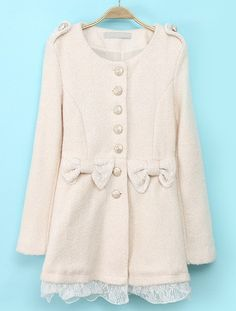 Beige Long Sleeve Contrast Lace Bow Coat US$45.57 Recommended by April (AprilAthena07 on YouTube)