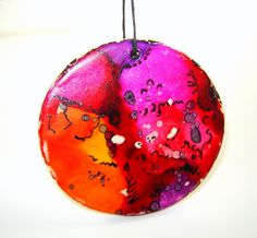 Alcohol Ink Painted Ornament in Stoneware by GoldhawkPotteryEtc