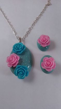 Resin rose necklace and earring set now available at my Etsy shop https://www.etsy.com/listing/252733008/resin-and-roses-jewelry-necklace-and