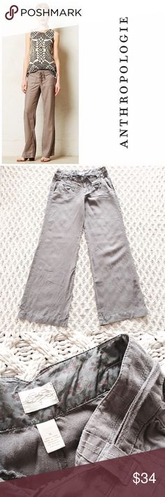 🆕Listing! Anthropologie Cidra linen pant Anthropologie Cidra linen pants in gray. Wide leg style, and perfect for a winter vaca!! Size 6. Unfortunately, the back left pocket is missing a button. But otherwise these are in great condition! Priced accordingly. ***Stock image isn't exact item, but extremely close. It is to show a cute styling idea*** 15 inch waist. 9.5 inch rise. 33.5 inch inseam. Anthropologie Pants Wide Leg
