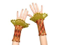 #Woodland #Fingerless #Gloves - #EcoFriendly #Beige, #Green, #Brown, #Orange #Multicolor #Knitted #Wrist #Warmers With Green #Crochet #Lace #Decoration by Pippiripi
