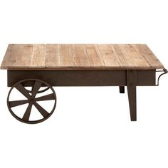 Add a touch of farmhouse appeal to your den or home library with this charming coffee table, featuring a wheelbarrow-inspired design and reclaimed wood top. ...