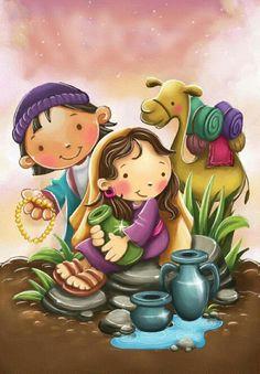 Raquel y el enviado Bible Stories For Kids, Bible Study For Kids, Preschool Bible, Bible Activities, Catholic Religious Education, Religious Art, Bible Crafts, Bible Art, Painting Kids Furniture