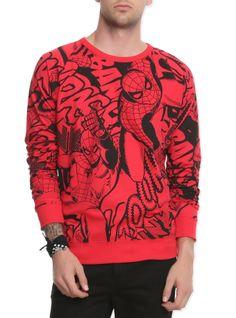 Lightweight+red+crewneck+pullover+with+allover+Spider-Man+print+design.