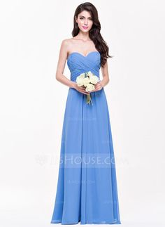 A-Line/Princess Sweetheart Floor-Length Chiffon Bridesmaid Dress With Ruffle (007068365) - JJsHouse