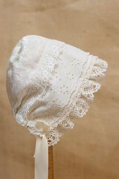 HANNAHS BONNET--Elegant white Lacey-bonnet --Sun bonnet, infant photo prop, baby bonnet, childrens clothing, cotton, christening via Etsy