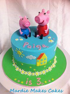 Peppa Pig Cake www.facebook.com/MardieMakesCakes