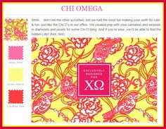 """Lilly Pulitzer Chi Omega: """"don't tell the other sororities, but we had the most fun making your owl"""""""