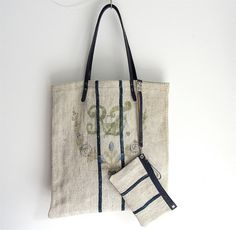 Tote  bag / shopper  made from an antique European GRAIN SACK in ecru / off white with blue stripes, and blue bridle leather straps