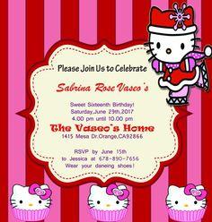 Hello kitty sample birthday invitation template hello kitty hello kitty sweet sixteen birthday invitation template filmwisefo