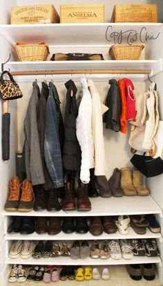 Ideas For Coat Closet Organization Ideas Entryway Shoe Racks – Top Trend – Decor – Life Style Front Hall Closet, Entryway Closet, Closet Bedroom, Closet Redo, Entryway Storage, Closet Doors, Diy Storage, Mudroom, Shoe Shelf In Closet