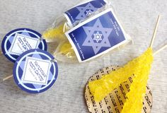 Homemade Rock Candy - Hanukkah Favors from Evermine #holiday #hanukkah #labels #recipe
