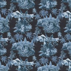 House of Hackney Sumatra wallpaper in Midnight/Azure. Sumatra depicts a mystical scene of the palmed jungle temples of Indonesia. Wallpaper Off White, Luxury Wallpaper, Fabric Wallpaper, Pattern Wallpaper, House Of Hackney Wallpaper, Jungle Temple, Cole And Son, Bold Prints, Repeating Patterns
