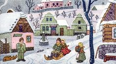 Josef Lada zima v obraze.Josef Lada Winter in the image . Childrens Christmas, Christmas Art, Christmas Greetings, All Things Christmas, Winter Christmas, Winter Scenes, Anime Comics, Kids Playing, Silhouettes