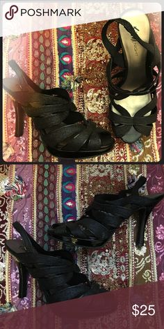 """🌟SALE🌟 Fiona Night Strappy Black Glitter Heels Obviously I have a shoe collecting problem. There are just sitting in my closet, so looking for a Posher to give them some love! They will go with just about anything. 4 1/2"""" heel. FIONI Clothing Shoes Heels"""
