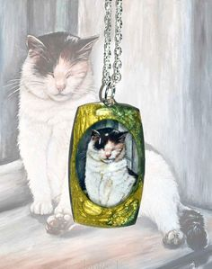 Green metal pendant  Lazy afternoon cat kitty cute animal