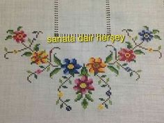 This Pin was discovered by Kan Funny Cross Stitch Patterns, Cross Stitch Borders, Crochet Borders, Cross Stitch Flowers, Modern Cross Stitch, Cross Stitch Designs, Embroidery Kits, Ribbon Embroidery, Cross Stitch Embroidery